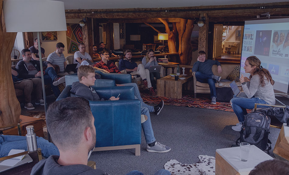 Team meeting during Vermont retreat